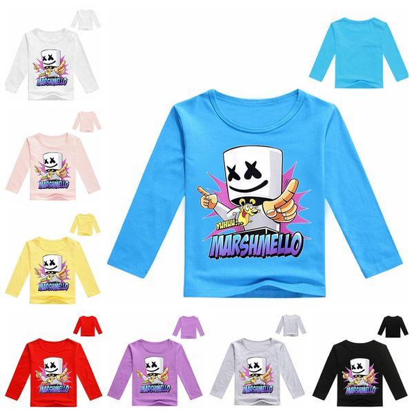 Marshmello DJ Spring Long Sleeve Kids T-shirts Round Neck Printed Girls Boys Tops Marshmello Face Pattern Children T-shirts DH1170 T03