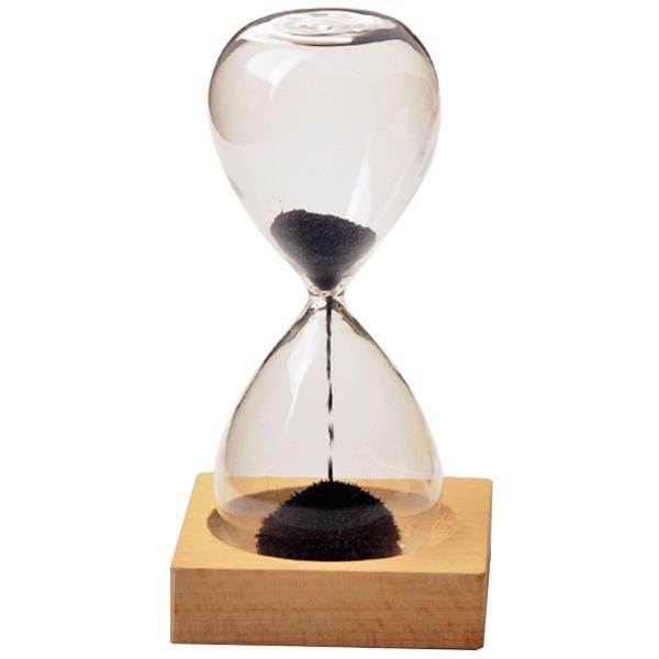 Black wood + glass + iron sand iron flowering magnetic hourglass with packaging hourglass 13.5 * 5.5cm wooden seat 8 * 8