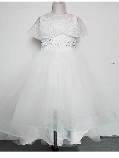 Sommer und Herbst 2019 Blumenkind New Lace Drilling Bankett Geburtstagsfeier Durchführung Hochzeit Blumenkind Schwanz Hochzeitskleid