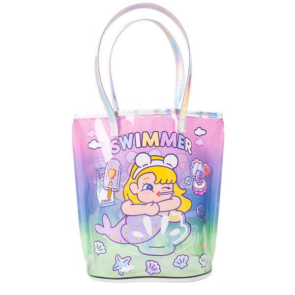 New Mermaid big kids bags Unicorn girls bags cute kids handbags clear girls handbags beach bag jelly bags childrens bag A6549