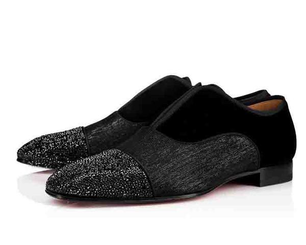 Sapatos de Festa de Casamento Dos Homens Alfa Masculino Strass P Strass Plano de Fundo Vermelho Oxford Greggo Orlato Flat Preto Sapatos Da Moda Negócio Masculino