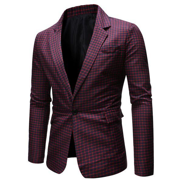 Erkekler Klasik Ekose İş Casual Blazers 2019 Marka Dar Kesim Ceket Erkekler Parti Düğün Gentleman Smokin Blazer Masculino