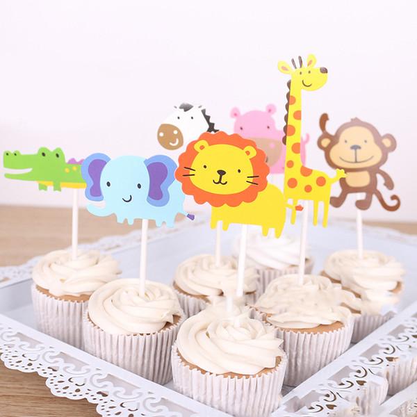 7 Unids / set Jirafa Animal Insertado Tarjeta Regalo Pequeño Papel Fiesta Pastel Topper Boda Cumpleaños Decoraciones Dibujos Animados
