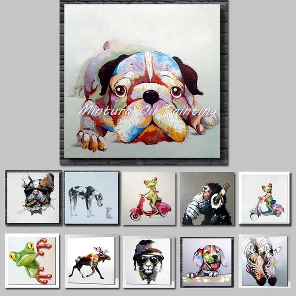 Decoração de quartos não Framed SH190919 Mintura Arte pintado mão pinturas acrílicas da lona colorida do cão modernos Kid Wall Art animal Resumo do