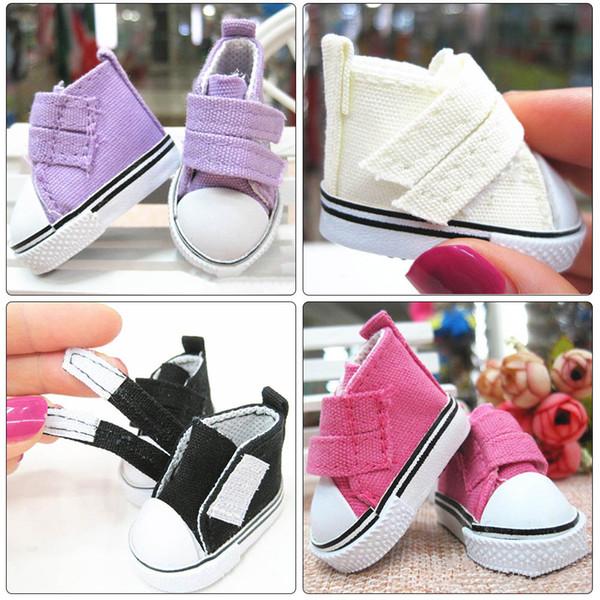 50PCS 5cm Doll Shoes Denim Sneakers For Dolls Fashion Denim Canvas Mini Toy Shoes 1/6 For Handmade Doll AIJILE