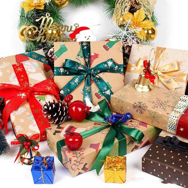 Natal papel de embrulho 70 * 50 centímetros Papel Kraft Presente Xmas Box Package Papel de Santa Snowflake Embrulho Papers