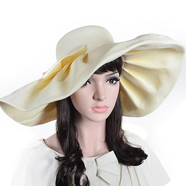Women Linen Floppy Ruffle Hat With Big Bowknot Wide Large Brim Sun Hats Wedding Cap Summer Beach Caps A1