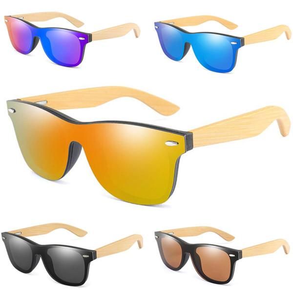 Diseñador de la marca Gafas de sol de bambú vintage Patas de madera Gafas de sol polarizadas Mujeres Hombres Playa adolescente Deportes al aire libre Gafas de película en color A52903