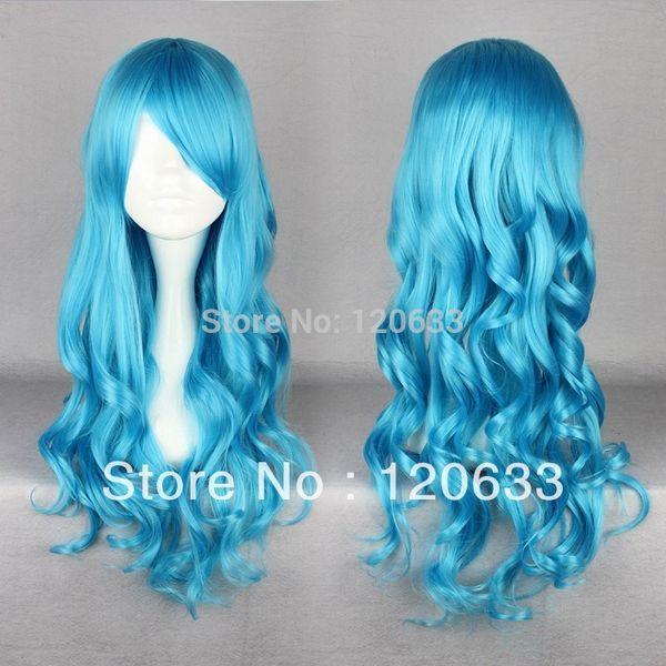 "Wholesale Hair Nature Cheap 100% Kanekalon 30"" blue Long Beautiful lolita wig Anime Wig virgin pad"