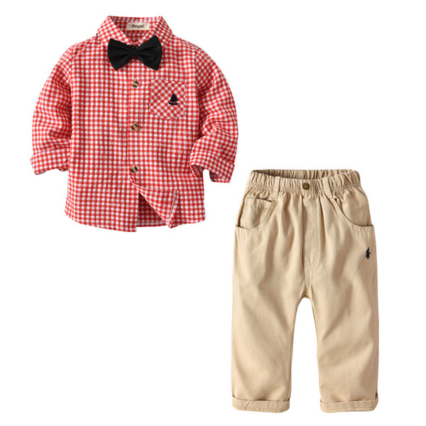 6f8b3c763 Baby Boys Western Fashion Prince Outfits Plaid Red Color Shirts Overalls  2pcs Sets Lovely Kids Clothes