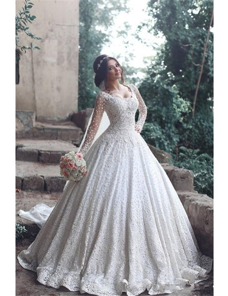 Arabic 2020 New Design Modern Wedding Dresses Scoop Neck Full Lace Crystal Beaded Long Sleeves Sweep Train Plus Size Formal Bridal Gowns
