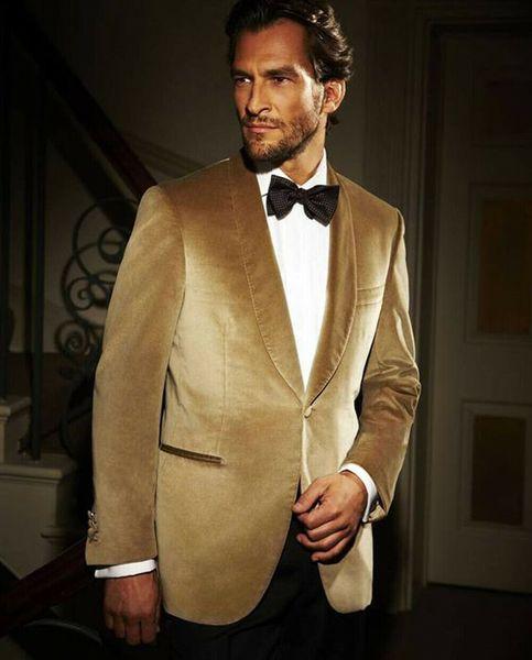 Chaqueta de terciopelo dorado Chal Solapa Traje para hombre Slim Fit Esmoquin Novio formal Traje de cena de graduación Por encargo Abrigo de una pieza