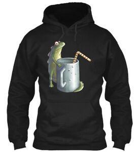 O animal engraçado da bebida feliz do lagarto chega moletom