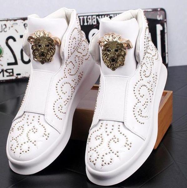Scarpe bianche alte da uomo di alta qualità, scarpe casual con rivetti spessi e bassi, mocassini stivaletti da uomo, scarpe casual da uomo 38W26