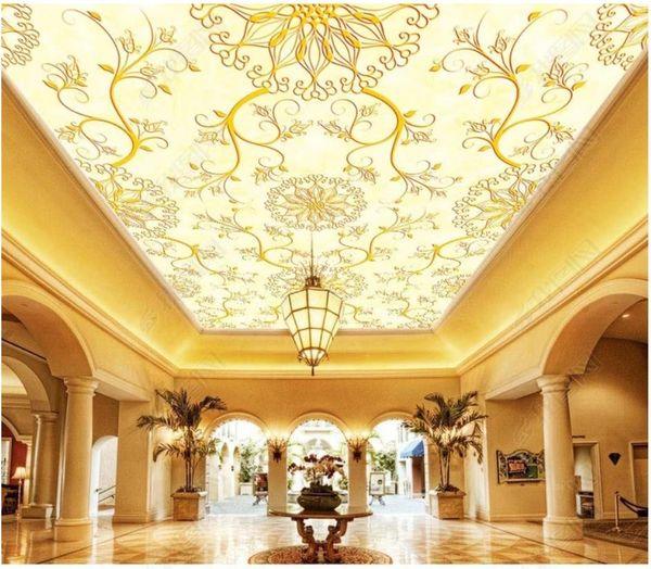Papel de parede Foto personalizzata 3D carta da parati murale seta Modello europeo tappeto hotel lobby soggiorno zenith soffitto carta da parati murale
