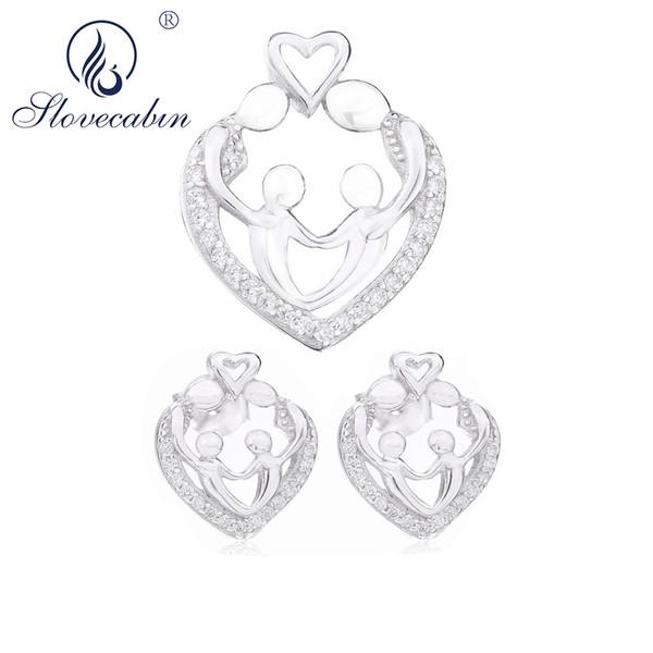 Venta al por mayor 925 regalos de plata esterlina ventas moda elegante diseño de lujo amor de la familia pendiente de cristal austriaco conjunto de joyas
