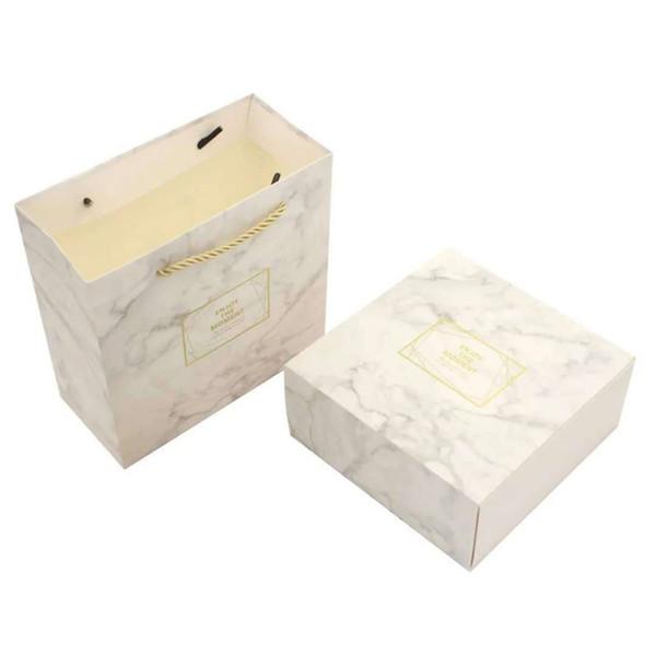 Papery Square Gifting Handle Bags Marmo bianco modello Creativo portatile Sacchetto regalo semplice moda da sposa avvolgere Regali Box 3rxC1