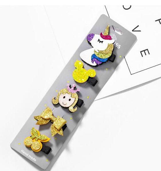 Nuevo juego de pinzas para el cabello para niños, accesorios para tarjetas de pelo animal con lentejuelas lindas