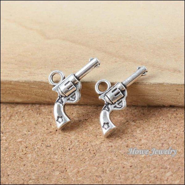240 pcs Vintage Charms gun Pendant Antique silver Fit Bracelets Necklace DIY Metal Jewelry Making B053