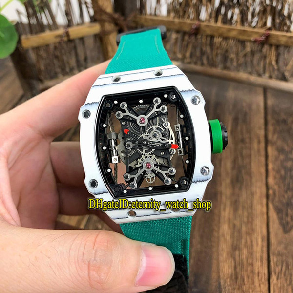 Top version RM 27-01 Nadal Skeleton Dial White NTPT Carbon Fibre Case Japan Miyota Automatic 27-01 Mens Watch Green Nylon Band Sport Watches