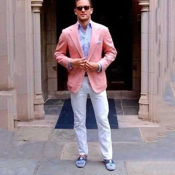 Latest Coat Pant Designs Groom Wedding Tuxedos Pink Men Suits White Pants Groomsmen Blazer Costume Homme 2Piece Slim Fit Terno Masculino