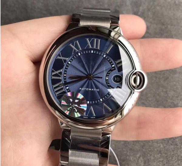 Relógio de aço inoxidável dos homens mecânicos automáticos azuis da forma luxuosa 42mm + com caixa