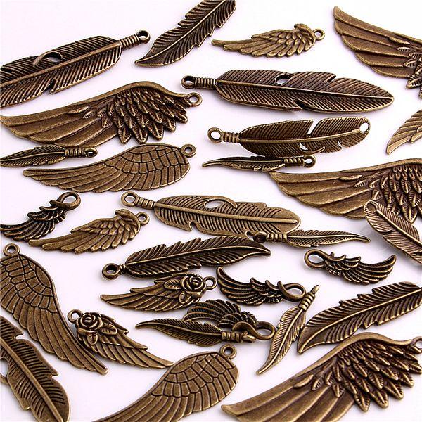 100 stücke Vintage Bronze Metall Kleine Flügel Feder Charme für Schmuck Machen Diy Zink-legierung Mix Flügel Feder Anhänger Charme H3004