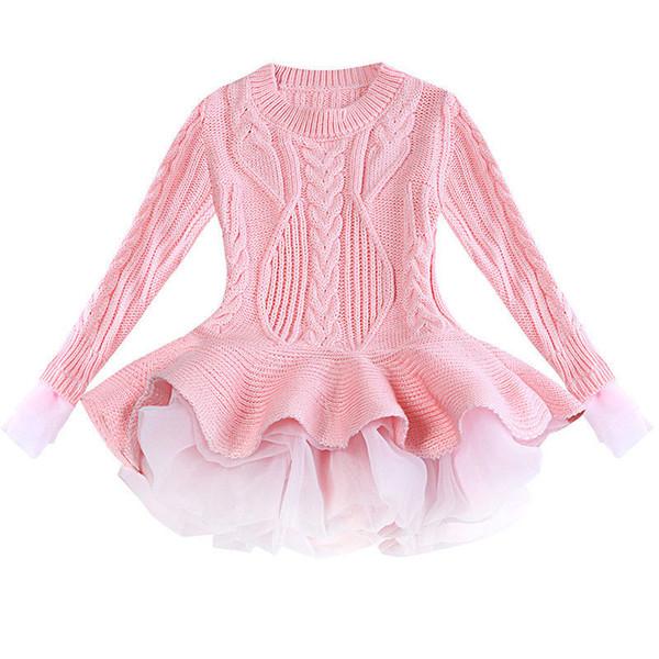 Meninas De Malha Camisola Inverno Pullovers Crochet Tutu Vestido Tops Roupas Infantis 3-9Y Crianças Outono Carta Primavera Algodão