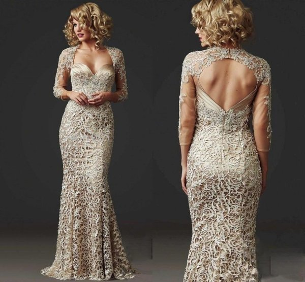 2019 Lace Mermaid Formal evening party gown 3/4 Long Sleeve Custom Beads Ladies Floor Length Champagne mother of the bride dress