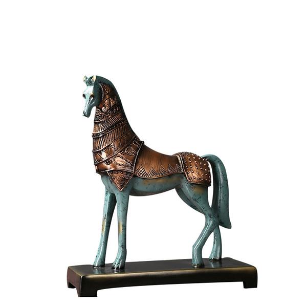 Resin Horse Figurine Modern Vintage Home Decoration Weaving Horse Figurine Handicrafts Animal Craft Gift For Home Office Decor