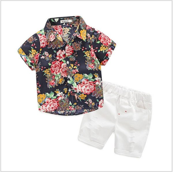 2019 New Hot Sale Boys Floral Printed Shirts Tees+White Shorts Pants 2pcs Sets Gentleman Style Boys Summer Outfits Kids Suits
