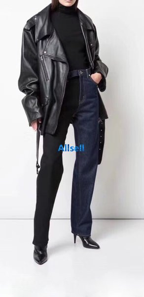 высокого класса женщин девочки денима джинсы пыхтения случайные лоскутное смешивания цвета пояса свободные прямые брюки верхнего качества конструкции париж способа роскошные брюки