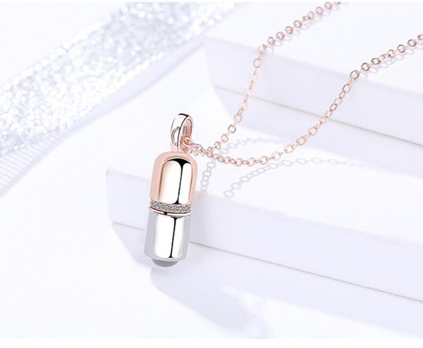 capsule pendants necklaces silver 925 jewelry woman man girls rose gold thin cross chains love pill romantic individuality originality 6pcs