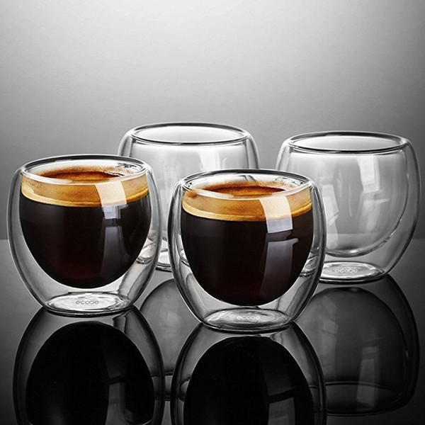 New 4pcs Double Wall shot Glass double Wall Espresso Coffee Cup 80ml free shipping