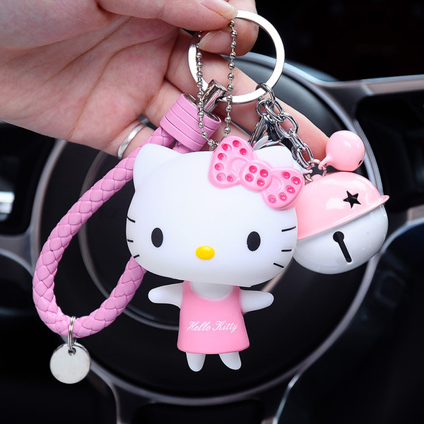 2019 New Cartoon Cute Hello Kitty Doll KT Cat Keychains Women Girls Charm Bags Key Rings Accessories Pendant Car Key Chains