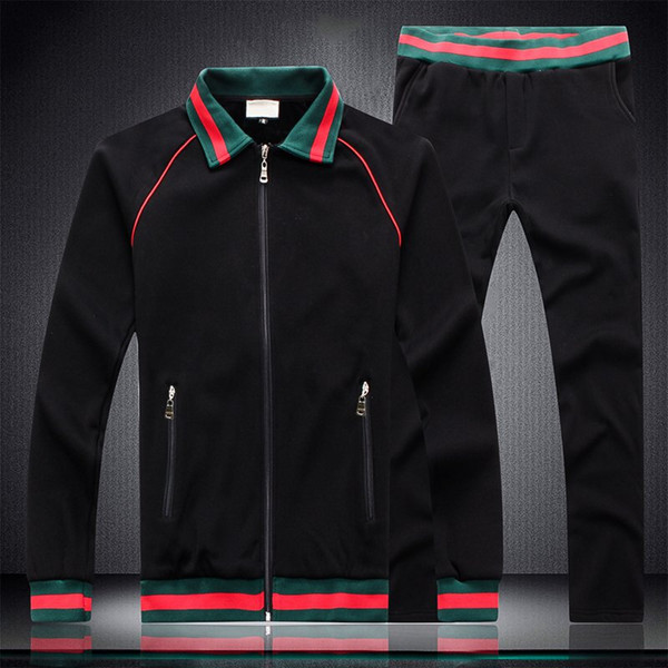 The Latest Red and Green Stripe Panelled Lapel Mens Designer Tracksuits Black White and Gray Length Sleeve Sweat Suits