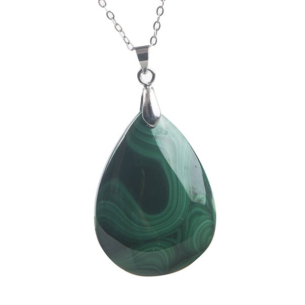 Genuine Natural Malachite Necklace Pendant Gems Crystal Water Drop Beads Pendants Jewelry Fine Jewelry 34*26*7mm