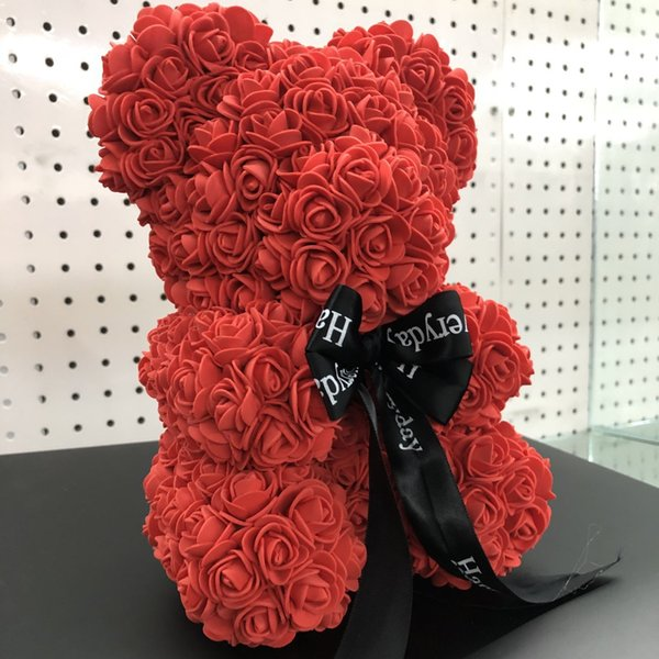 Rose Bear Artificial Romantic Gift Box Rose Flower Teddy Bear Mothers Day Gift Cute Decorations Handmade Flower Bear DH01010