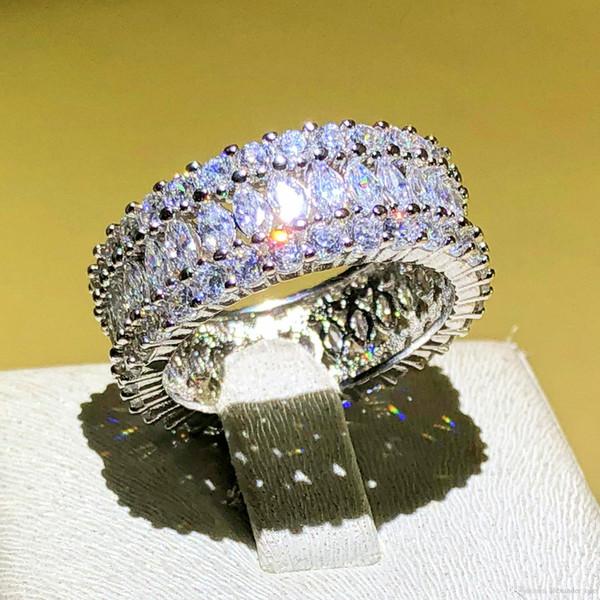 Luxus voller stein CZ Schmuck Marke 925 Sterling silber Marquise Brilliant Cut Zirkonia Engagement Hochzeit Ringe Für Frauen