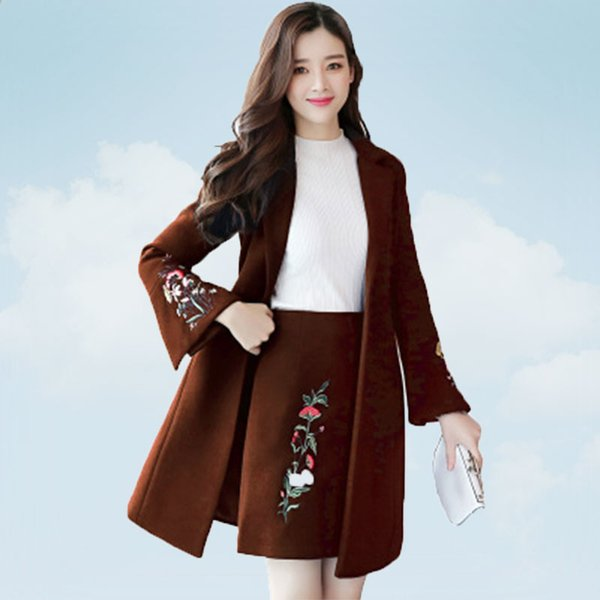 spring autumn of 2019 new fashion embroidery woolen coats korean medium long jacket two-piece set black overcoat female ss710