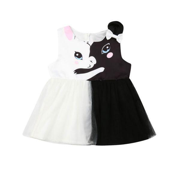 Toddler Kids Girls Princess Summer Casual Tutu Party Cat Dress Vestito estivo Summer Fashion Abiti casual