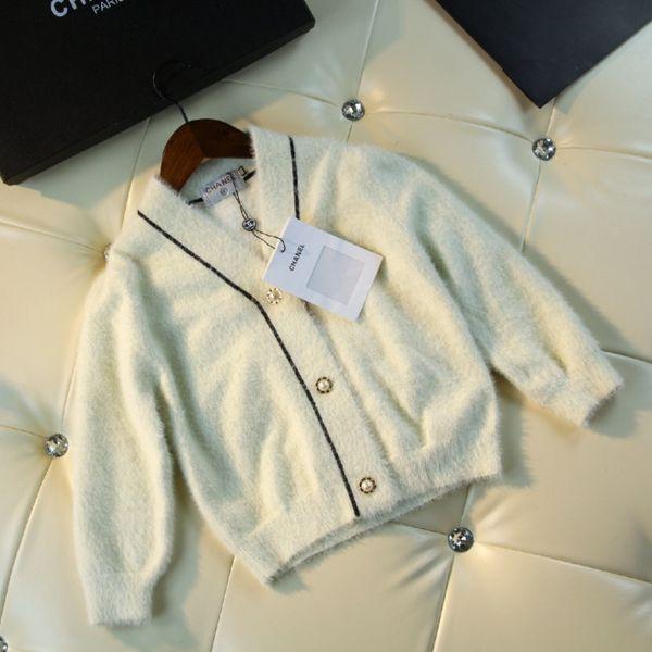Girls sweater kids designer clothing autumn fashion beige sweater cardigan velvet blend material cute charm