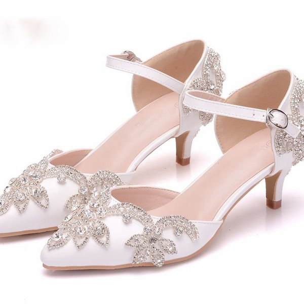 Wedding Shoes 5cm Kitten Heel Pointed Toe Ankle Strap Sandals Low Heel Bridal Dress Shoes Plus Size Girl Birthday Ceremony Pumps