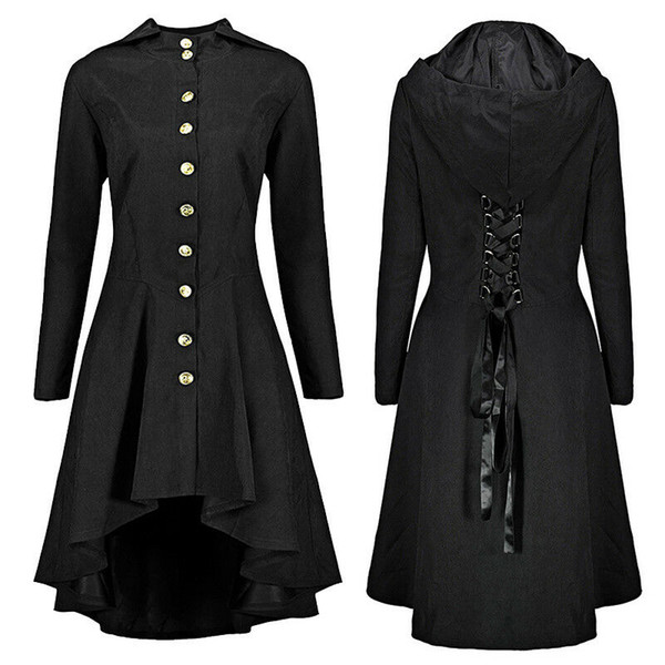 Joineles Plus Size Steam Punk Gothic Long Tail Jacket Jacket Women Lace Up Hooded Victorian Overcoat Asymmetrical Casaco Feminino