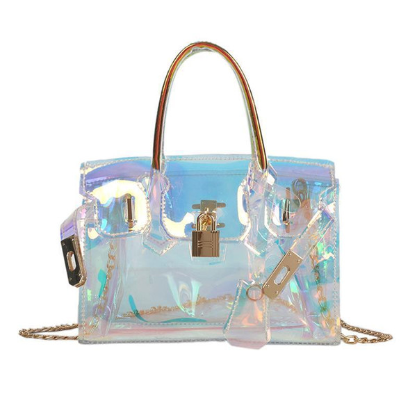 Laser Messenger Bags Lock Candy Women Fashion Jelly Transparent Handbags Plastic Shoulder Bags Hasp Chains Handbags Holographic