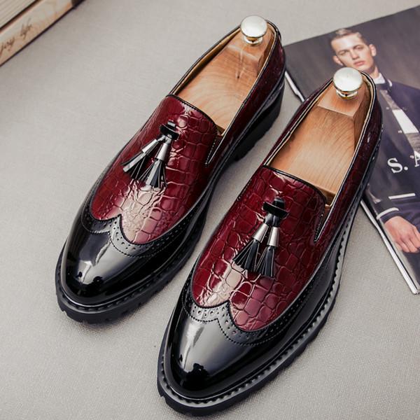 Rugan Erkekler Püskül Loafer Ayakkabı Erkek Elbise Ayakkabı Düğün Biçimsel 5 # 24D50 Slip On