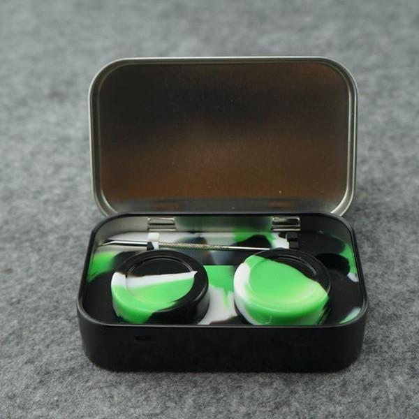 Nizza 10 ML Nonstick 2 * 5 ML Circular Wax Container Silikon Box Container Lebensmittelqualität Gläser Werkzeug Löffel Vorratsglas Öl Halter Für Vape Heißer Verkauf