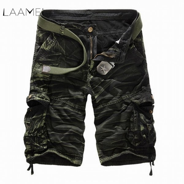 Laamei Camouflage Camo Cargo Shorts Men 2019 New Casual Shorts Male Loose Work Shorts Man Military Short Pants Plus Size No Belt Y19042604