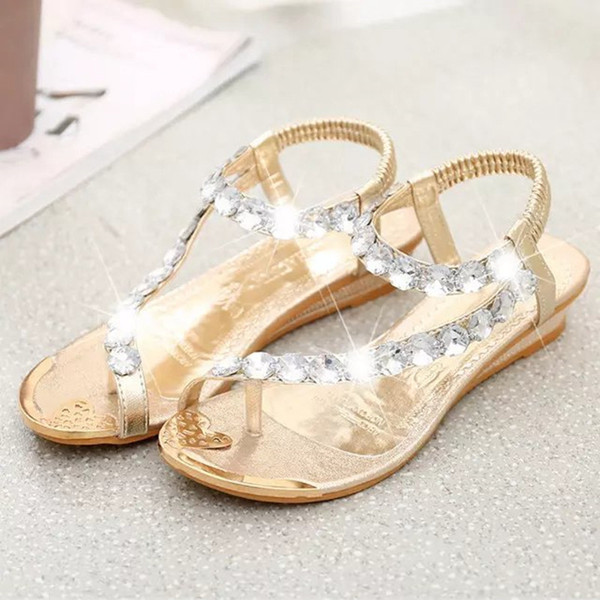 2019 Summer New Crystal Flower Bohemia Women Sandals Flat With Sweet Solid Beach Women Shoes Elastic Band Slip-On Ladies Sandals