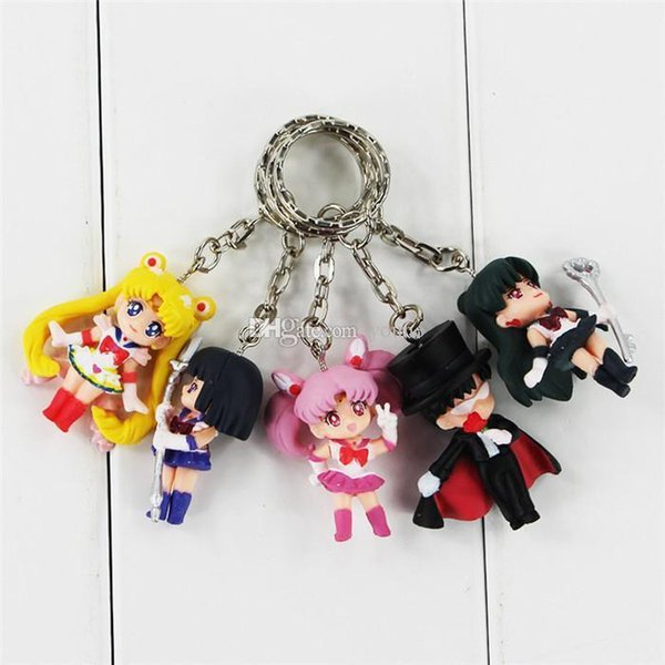 Free Shipping 15pcs/3Set Anime Sailor Moon Mars Jupiter Venus Mercury Keychains Action Figures Toys Dolls